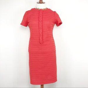 VTG 60s 70s Shift Dress Size 16 Short Sleeves Knit